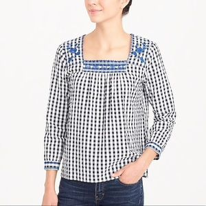 J. Crew   Embroidered Gingham Peasant Top Size XXL